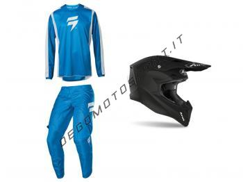 Casco Airoh + Completo Shift 2020 Blue White