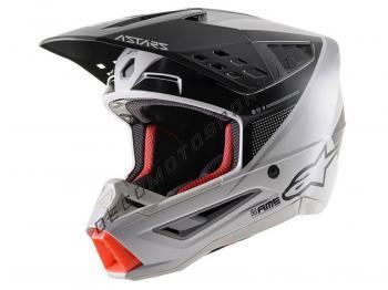 Casco Alpinestars SM5 Rayon Light Gray-Black-Silver Matt