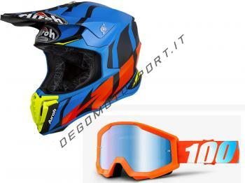Casco cross Airoh Twist 2019 Great Blue + Maschera 100%