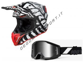 Casco cross Airoh Twist 2019 Legend Black + Maschera 100%