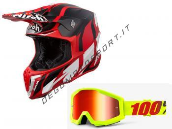 Casco cross Airoh Twist 2019 Red Matt + Maschera 100%