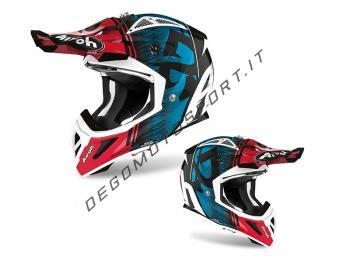 Casco Motocross Airoh 2020 Aviator Ace Kybon Blue-Red Gloss