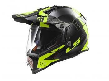 Casco motocross LS2 MX436 Piooner Trigger Black Yellow Fluo
