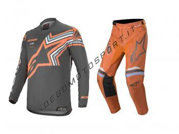 Completo Motocross Alpinestars 2020 Racer Braap Arancione-Grigio