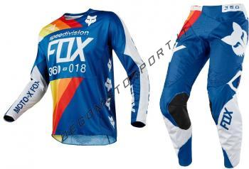 Completo motocross fox 2018 360 Draftr Blu