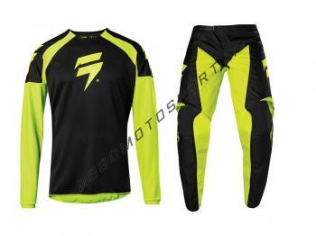 Completo Motocross Shift 2020 WHIT3 Label Race 1 Yellow Fluo