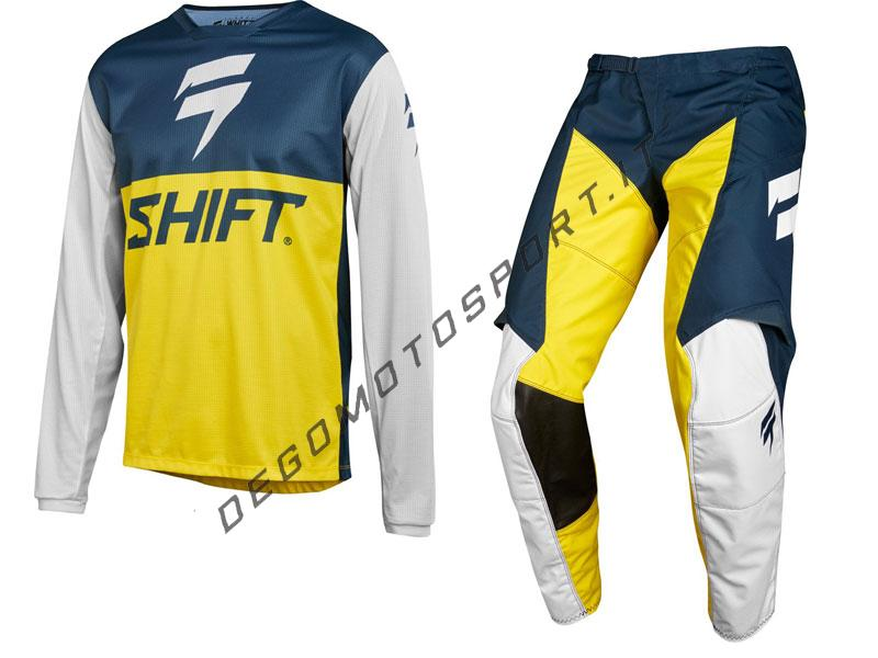 Completo Motocross Shift 2018 whit3 label gp le navy yellow