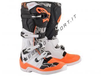 Stivali Motocross Alpinestars Tech 5 White Black Orange Fluo