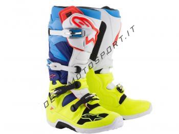 Stivali Motocross Alpinestars Tech 7 Yellow Fluo White Blue Cyan